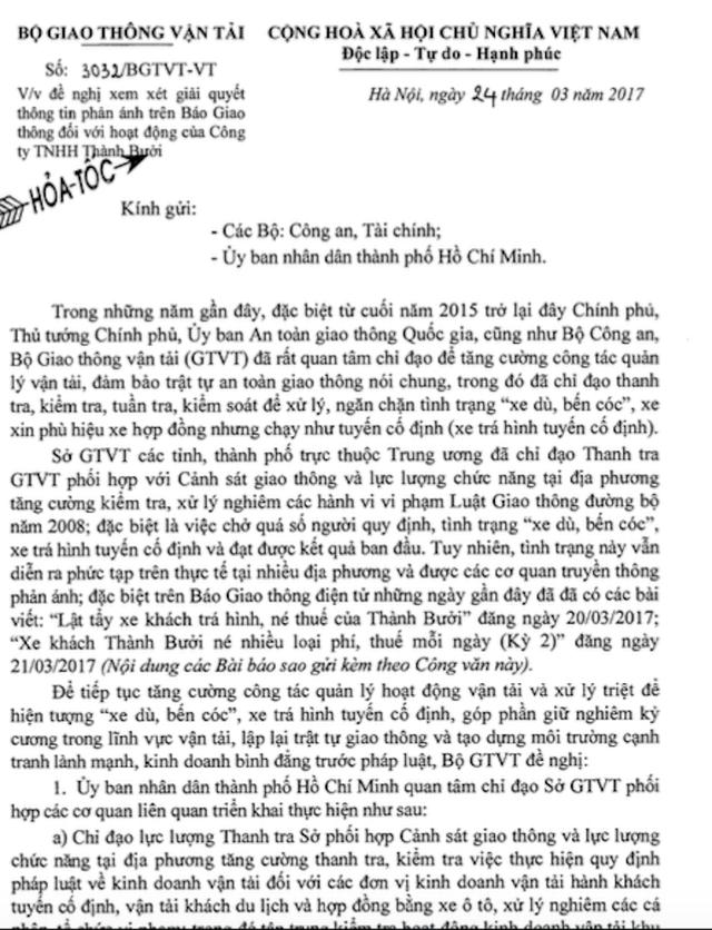 Văn bản số 3032/BGTVT-VT gửi hoả tốc đến Bộ Công an, Bộ Tài chính, UBND TPHCM đề nghị xem xét các thông tin phản ánh về Công ty TNHH Thành Bưởi liên quan đến hoạt động xe dù, bến cóc và xe khách trá hình, né thuế...