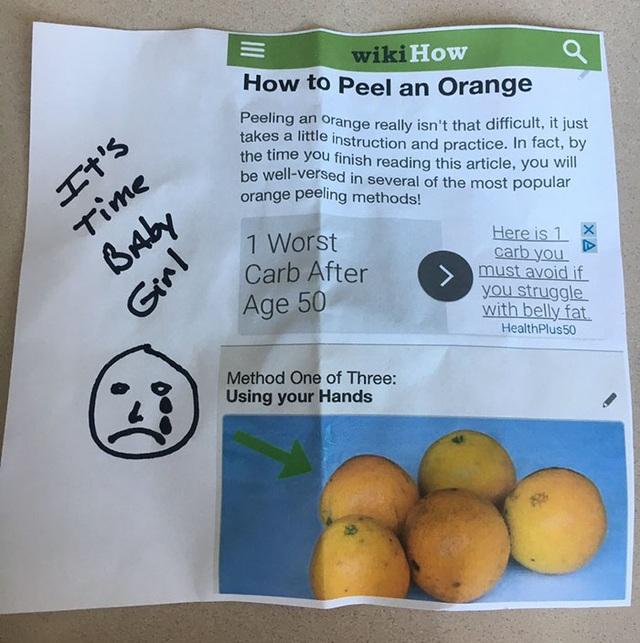 Hướng dẫn gọt vỏ cam được người bố in từ trang WikiHow.