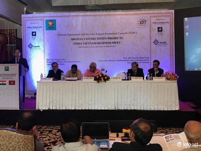 Bộ trưởng Trương Minh Tuấn phát biểu tại cuộc gặp gỡ doanh nghiệp viễn thông 2 nước Việt Nam - Ấn Độ