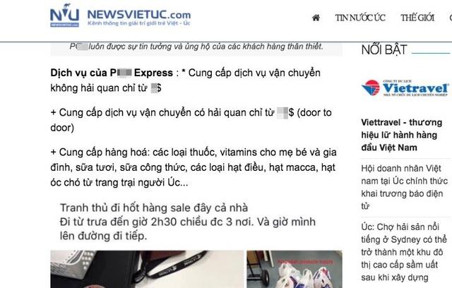 Quảng cáo công khai của P... Express về các dịch vụ có và không có hải quan.