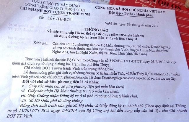 Thông báo số 1167/TB-BOT ngày 6/4/2017 của Chí nhánh BOT tuyến tránh Vinh về việc làm hồ sơ giảm giá vé.