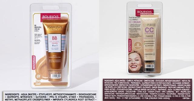 Sản phẩm BB cream và CC cream của Bourjois có chứa Ethylhexyl methoxycinnamate, BHT