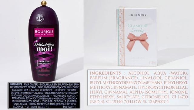 Sữa tắm Bourjois  có Methylisothiazolinone và nước hoa Bourjois có Ethylhexyl, methoxycinnamate