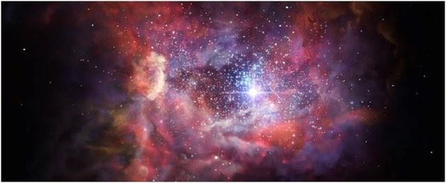 Hình ảnh ấn tượng này cho thấy thiên hà trẻ A2744_YD4 xa xôi trông như thế nào. Các quan sát sử dụng ALMA đã chỉ ra rằng thiên hà này được nhìn thấy khi vũ trụ có độ tuổi chỉ bằng 4% độ tuổi hiện nay, rất giàu bụi. Do đó bụi đã được tạo ra bởi thế hệ của các ngôi sao trước và những quan sát này cung cấp cái nhìn sâu sắc về sự hình thành và cái chết của những ngôi sao đầu tiên trong Vũ trụ. Ảnh: ESO / M. Kornmesser