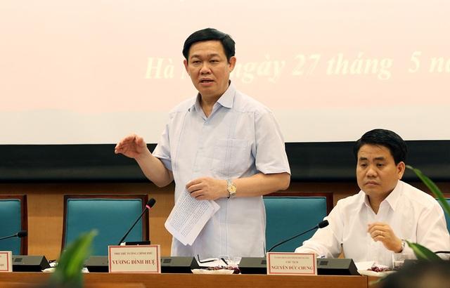 Phó thủ tướng Vương Đình Huệ phát biểu chỉ đạo tại buổi làm việc với UBND TP Hà Nội