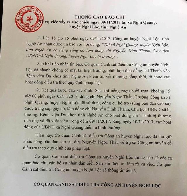 Thông cáo báo chí của công an huyện Nghi Lộc về vụ nổ súng tại trụ sở UBND xã Nghi Quang làm Chủ tịch UBND xã này bị thương.