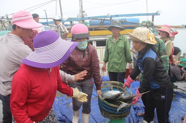 Khi biết tin anh Tuấn trúng đậm chuyến biển này, nhiều tiểu thương đã tập trung tại cảng Cửa Việt để mua hàng, đi phân phối