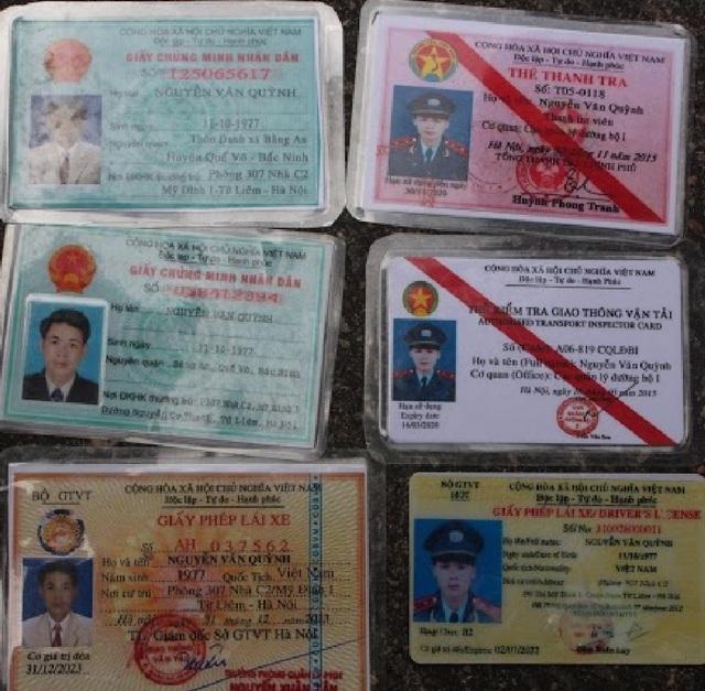 Thẻ Thanh Tra và Thẻ kiểm tra giao thông vận tải (Cục quản lý đường bộ 1) mang tên đối tượng Quỳnh