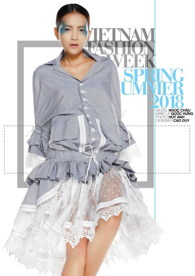 Cao Duy: Một cái nhìn rất khác và hợp thời đại. Là những đường cắt chọn lọc trên chất liệu vải cotton sọc. Cao Duy bày tỏ quan điểm của mình về vẻ đẹp của người phụ nữ hiện đại một cách riêng biệt với nhiều ngẫu hứng.