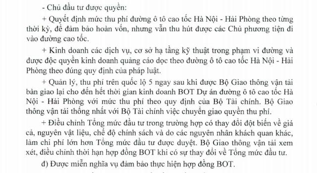 Quyết định của Thủ tướng về việc áp dụng thí điểm Dự án cao tốc Hà Nội - Hải Phòng, trong đó cho phép chủ đầu tư thu phí trên Quốc lộ 5