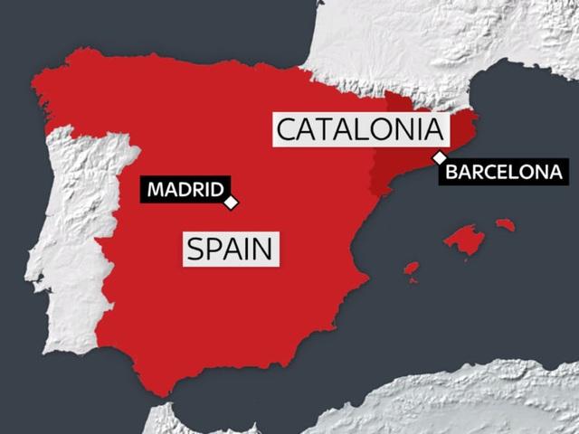 Vị trí lãnh thổ tự trị Catalonia trên bản đồ Tây Ban Nha (Ảnh: Sky)