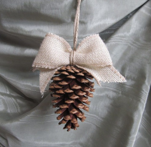 Nếu có thể hãy tìm một vài qủa thông để có một món đồ trang trí đậm chất Giáng Sinh nhất.