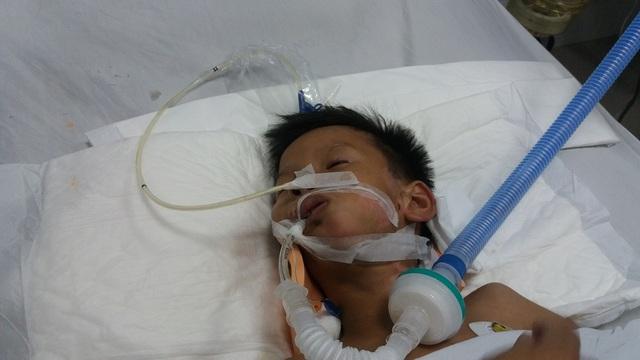 Cháu Bảo bị chấn thương sọ não, chấn thương cột sống cổ... đang nằm điều trị tại Bệnh viện Đà Nẵng