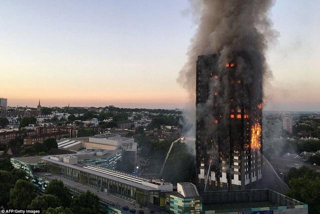 Một vụ hỏa hoạn xảy ra tại tòa tháp Grenfell 24 tầng tại quận White City, London, Anh vào rạng sáng nay 14/6. Tòa tháp được xây dựng từ những năm 1970 với khoảng 120 căn hộ. (Ảnh: AFP)