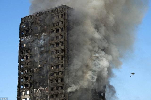 Vụ hỏa hoạn gần như thiêu rụi tòa nhà. Số liệu ban đầu của lực lượng cảnh sát London cho biết khoảng 30 người đã được đưa tới bệnh viện để điều trị sau vụ hỏa hoạn. (Ảnh: EPA)