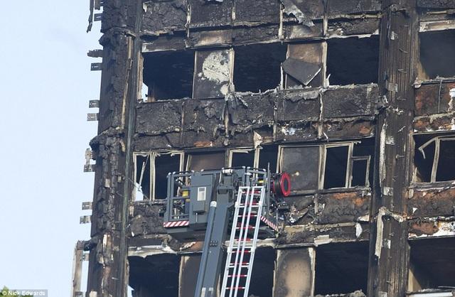 Lực lượng cứu hỏa vẫn đang cố gắng tiếp cận các tầng trên cao bằng cần trục (Ảnh: Dailymail)