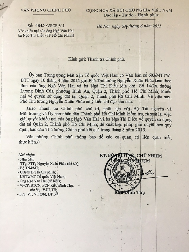 Ý kiến chỉ đạo của Phó Thủ tướng Nguyễn Xuân Phúc (nay là Thủ tướng Chính phủ) đối với KN của ông Hai, bà Điều.