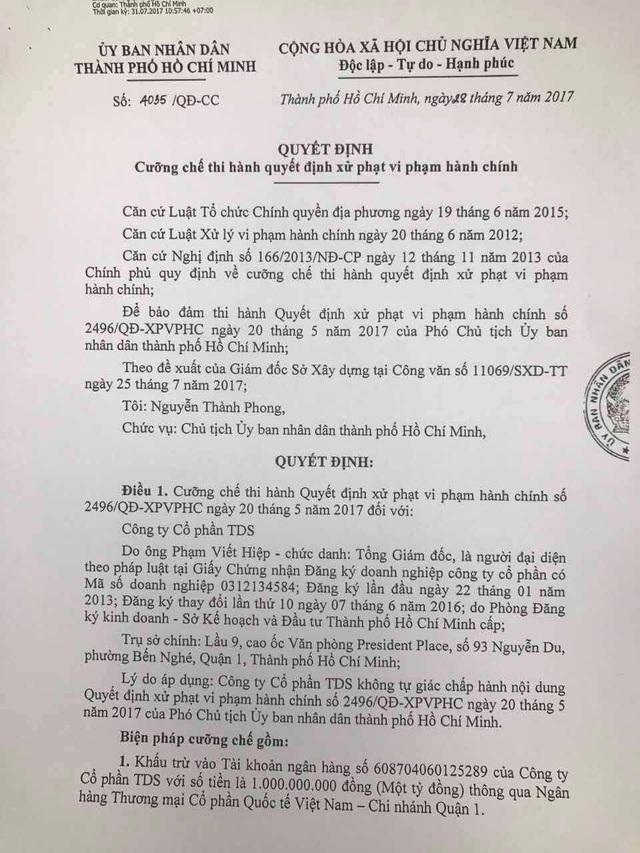 Quyết định cưỡng chế do ông Nguyễn Thành Phong, Chủ tịch UBND TPHCM ký