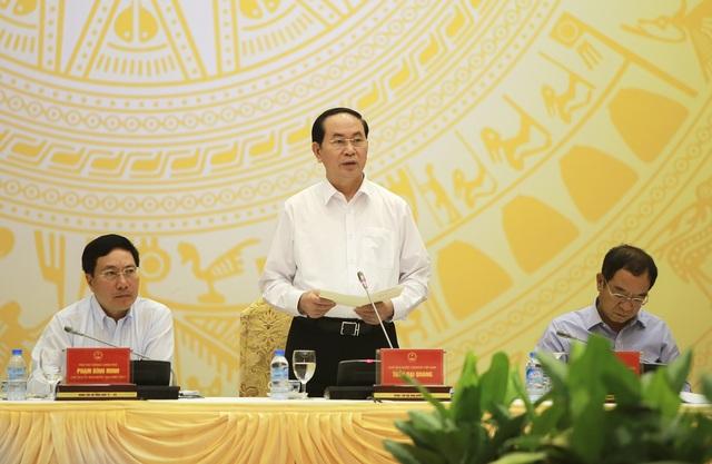 Chủ tịch nước Trần Đại Quang phát biểu chỉ đạo tại phiên họp toàn thể lần thứ 8 của Ủy ban Quốc gia APEC 2017, sáng 22/6.