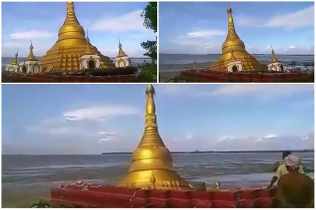 Ngôi chùa bị nước lũ cuốn trôi ở Myanmar (Ảnh: Straitstimes)