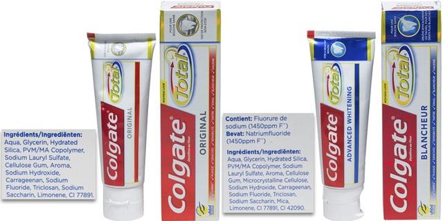 Sản phẩm kem đánh răng Colgate total có chứa Sodium lauryl sulfate và Triclosan