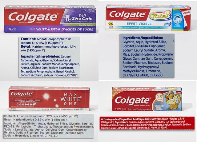Các kem đánh răng Colgate chứa Sodium lauryl sulfate