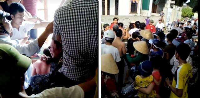 Thấy hô hoán có kẻ bắt cóc trẻ em, nhiều người dân đã vây bắt 2 người đàn ông lạ mặt, một số thiếu kiềm chế đã lao vào hành hung