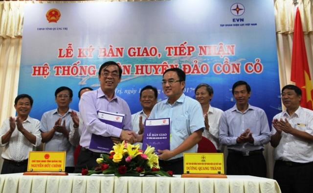 Chính quyền tỉnh Quảng Trị bàn giao, tiếp nhận hệ thống điện huyện đảo Cồn Cỏ