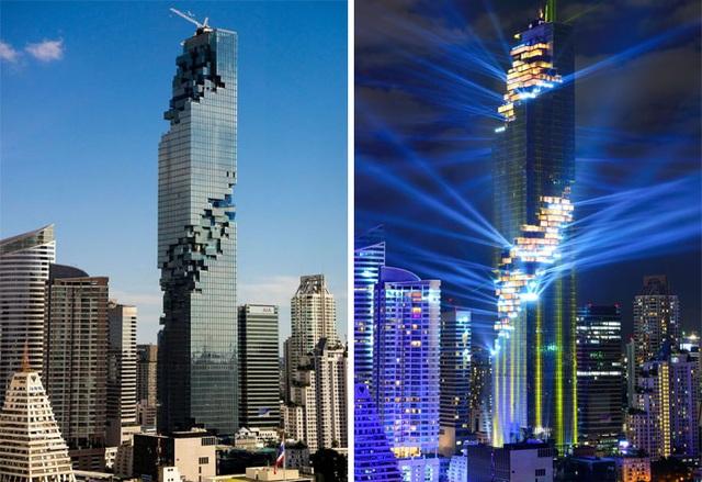 Tháp Mahanakhon tọa lạc tại thủ đô Bangkok, Thái Lan tựa như một mô hình lego chưa hoàn thiện. Thiết kế độc lạ này khiến nó trở thành một trong những địa điểm du lịch hút khách nhất của thành phố.