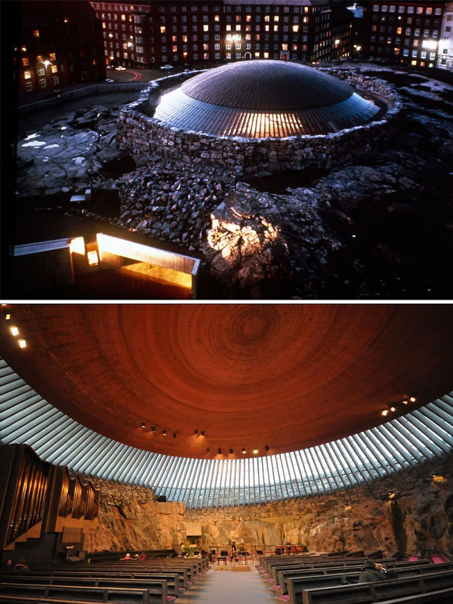 Một công trình tôn giáo khác cũng có thiết kế hết sức độc đáo, đó chính là nhà thờ Temppeliaukion tọa lạc tại Helsinki, Phần Lan. Từ bên ngoài, nó tựa như một chiếc đĩa bay của người ngoài hành tinh vừa đáp xuống trái đất nhưng thực chất, đó lại chính là phần mái vòm nhô ra của nhà thờ này còn tất cả các kết cấu còn lại được xây dựng ngầm dưới lòng đất.