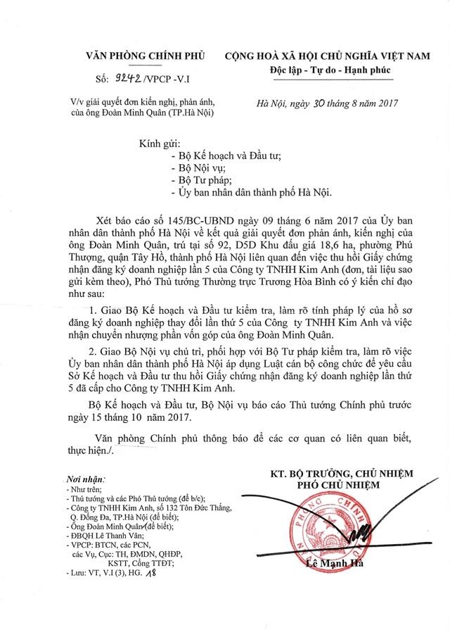 Văn bản truyền đạt ý kiến chỉ đạo của Phó Thủ tướng Thường trực Trương Hoà Bình.