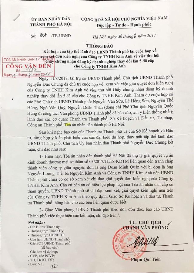 Văn bản của UBND TP Hà Nội về xử lý vụ việc tại Công ty TNHH Kim Anh.
