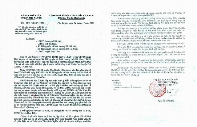 Công văn UBND huyện Phú Xuyên gửi đến UBND thành phố Hà Nội và UBND tỉnh Hà Nam đề nghị điều tra xử lý nhà máy xử lý rác thải công ty CP Đầu tư và Phát triển Tâm Sinh Nghĩa