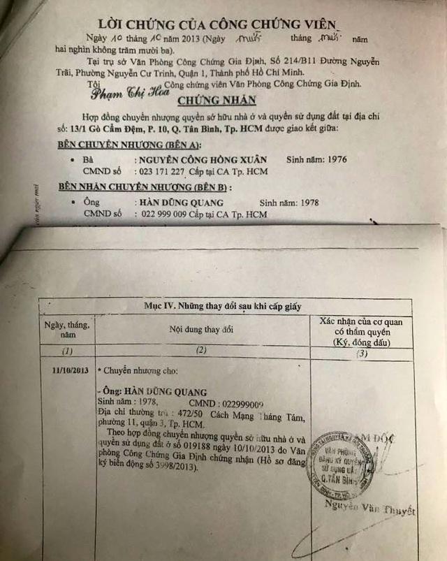 Ông Quang đã thỏa thuận việc ký hợp đồng mua bán nhà chỉ là hình thức bảo đảm việc cho mượn nhưng lại làm thủ tục đăng bộ cập nhật biến động sang tên mình với thời gian thủ tục hành chính siêu nhanh chỉ trong 1 ngày.