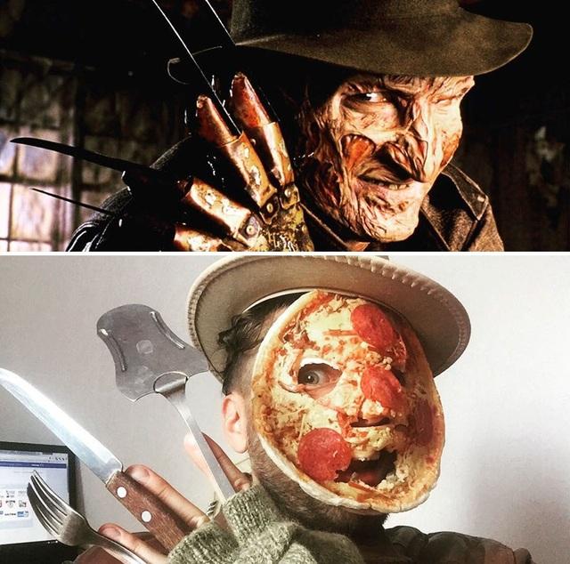 Biết đâu các nhà làm phim cũng đã lấy cảm hứng từ chiếc bánh pizza, để tạo nên khuôn mặt gớm ghiếc của tên sát nhân trong mộng Freddy Krueger.