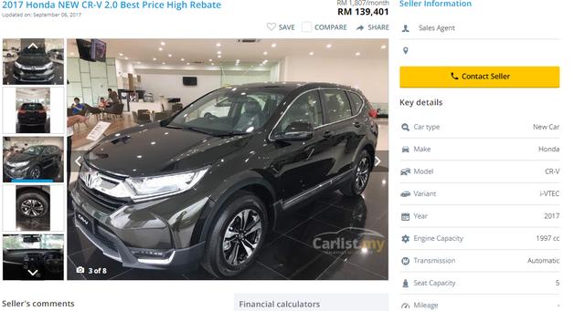 Giá xe Honda CRV bản 5 chỗ, đời 2017 tại Malaysia