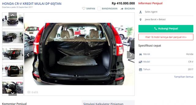 Giá xe Honda CRV bản 5 chỗ, đời 2017 tại Indonesia