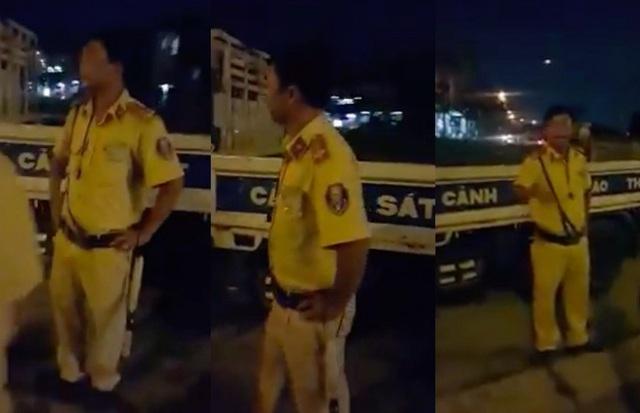 Hình ảnh người CSGT bị tố đánh người vi phạm (ảnh cắt từ clip)