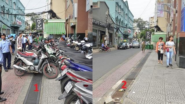 Bãi giữ xe 2 bánh không phép trên đường Nam Quốc Cang bị xử lý, trả lại vỉa hè thông thoáng