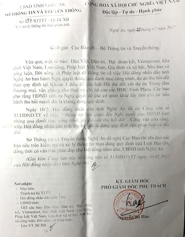 Sở TTTT Nghệ An cũng ra văn bản đề nghị các bác trả lời.