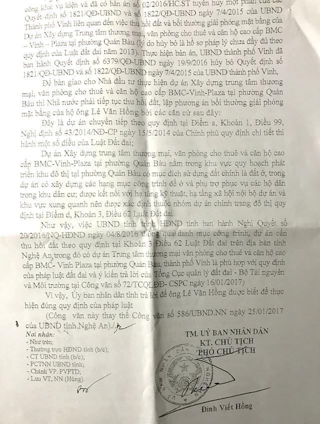 Văn bản 621 cho rằng việc thu hồi đất của ông Hồng là phù hợp với quy định của luật đất đai.