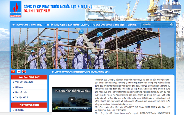 Website của Công ty Petromanning với những lời mời chào người lao động đi xuất khẩu tại Ả Rập Xê Út.