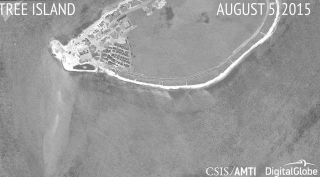 Ảnh vệ tinh chụp đảo Cây thuộc quần đảo Hoàng Sa của Việt Nam ngày 5/8/2015 do Trung tâm Nghiên cứu Chiến lược và Quốc tế (CSIS) và Tổ chức Sáng kiến minh bạch hàng hải châu Á (AMTI) công bố (Ảnh: CSIS/AMTI)