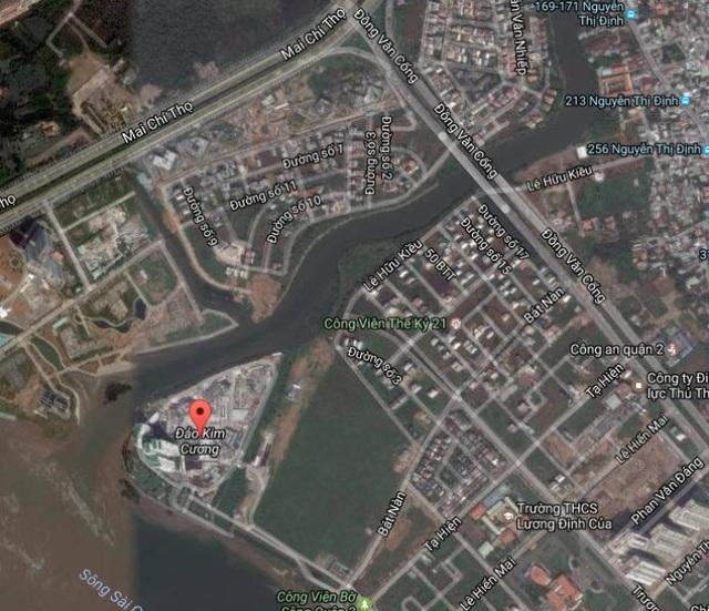 Đảo Kim Cương rộng khoảng 8ha trên địa bàn phường Bình Trưng Tây (quận 2) và được bao quanh bởi sông Sài Gòn và Giồng Ông Tố (ảnh: Google maps)