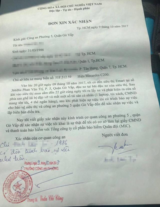 Xác nhận của công an về sự việc đập kính ô tô trộm tài sản