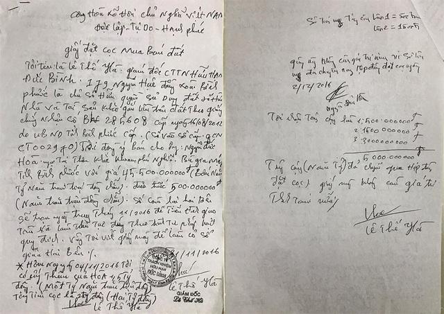 Hợp đồng mua bán và giấy bán đất do vợ chồng bà Loan và vợ chồng bà Hà kí nhận.