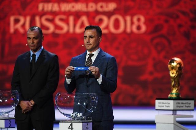 Cannavaro tại lễ bốc thăm, đội tuyển Ý của anh không góp mặt tại World Cup 2018