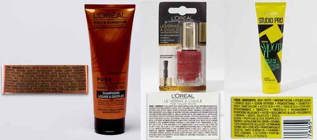 Dầu gội (có Methylchloroisothiazolinone, Methylisothiazolinone), sơn móng (có Benzophenone-1), dưỡng tóc (Ethylhexyl, methoxycinnamate, BHT) của L Oréal