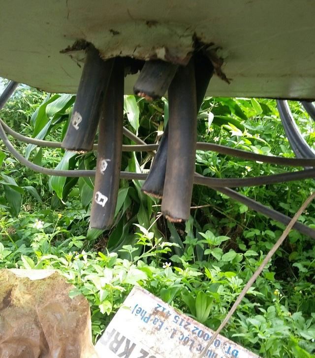Kẻ gian liều lĩnh cắt trộm dây điện khi điện đang hoạt động (ảnh T.B)