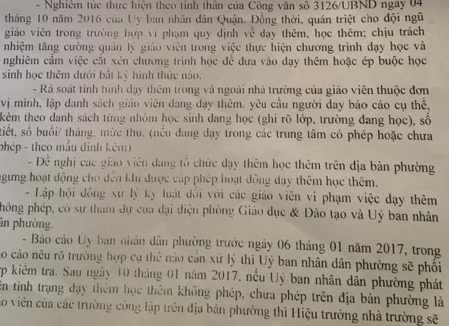 Văn bản của UBND phường Bình Trị Đông, quận Bình Tân, TPHCM đưa ra nhiều biện pháp chấn chỉnh tình trạng dạy thêm sai quy định